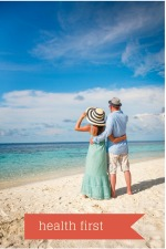 couple at beach putting health first.