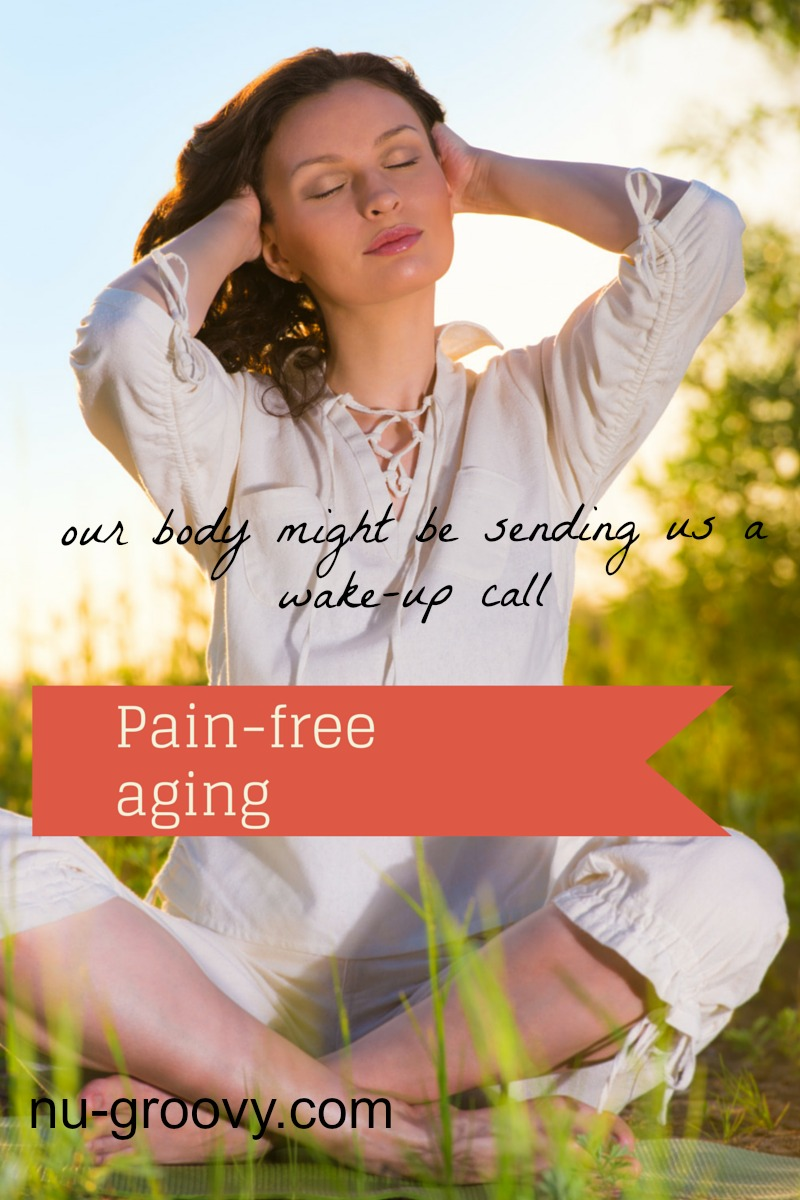 Woman sitting with pain-free aging.